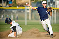 JEROME A. POLLOS/Press..Chris Combo, second baseman for the Coeur d'Alene Lumberman, fires off the second half of a double play to close out the first inning Thursday against Bethel.