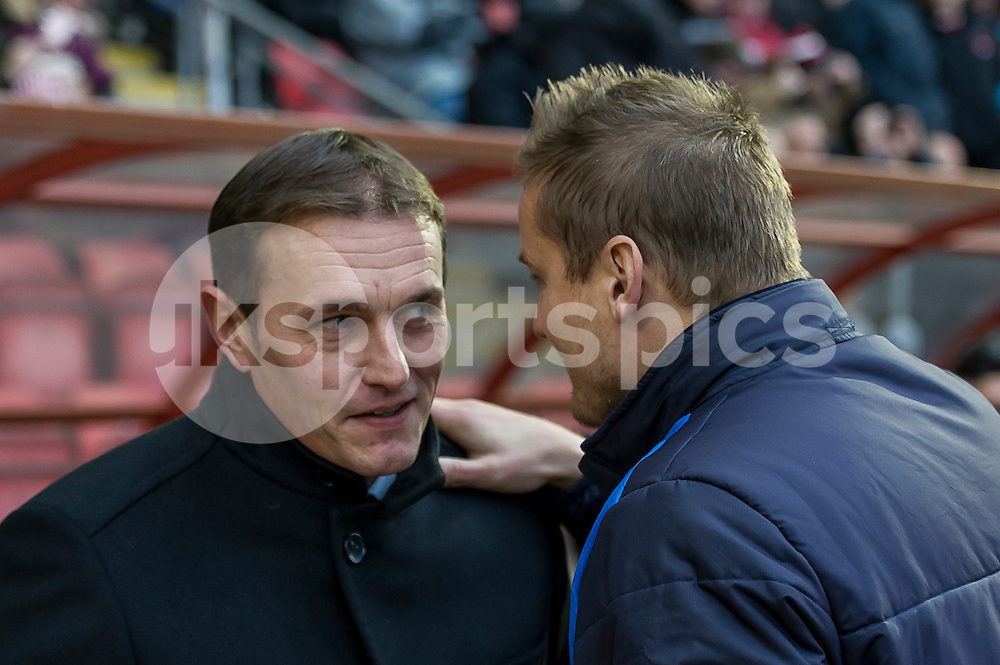 Ian Hendon manager of Leyton Orient and Neal Ardley manager of Wimbledon during the Sky Bet League 2 match between Leyton Orient and AFC Wimbledon at the Matchroom Stadium, London, England on 28 November 2015. Photo by Salvio Calabrese.