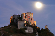LES ANDELEYS, FRANCE - OCTOBER 10:  A low angle view of the Chateau Gaillard on October 10, 2008 in Les Andelys, Normandy, France. The chateau was built by Richard the Lionheart in 1196, came under French control in 1204 following a siege in 1203. It was later destroyed by Henry IV in 1603 and classified as Monuments Historiques in 1852.  (Photo by Manuel Cohen)