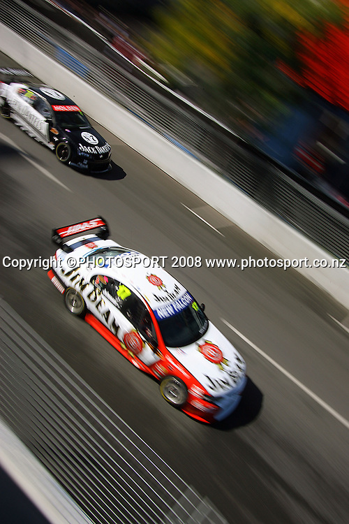 Todd Kelly passes Steven Johnson during qualifying.<br /> Qualifying Day. Aussie V8 Supercars Round Three, Hamilton 400, Frankton, Hamilton. Saturday, 19 April 2008<br />  2008. Photo: Dave Lintott/PHOTOSPORT