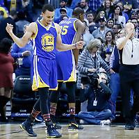 13 February 2017: Golden State Warriors guard Stephen Curry (30) reacts during the Denver Nuggets 132-110 victory over the Golden State Warriors, at the Pepsi Center, Denver, Colorado, USA.