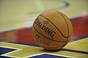 Oct 12, 2009; Cleveland, OH, USA; Regulation NBA basketball sits on the court at Quicken Loans Arena.  Mandatory Credit: Jason Miller-US PRESSWIRE..