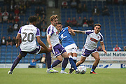 Chesterfield's Bradley Parry plays the ball forward during the Pre-Season Friendly match between Chesterfield and Rotherham United at the b2net stadium, Chesterfield, England on 25 July 2017. Photo by John Potts.