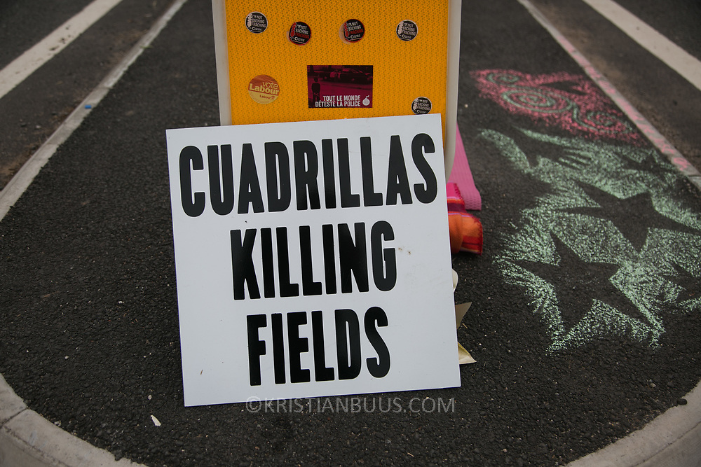 Anti-fracking  activists and protesters outside the gates of Quadrilla's fracking site June 31st, New Preston Road, Lancashire, United Kingdom. Quadrillas Killing Fields. The struggle against fracking in Lancashire has been going on for years. The fracking company Quadrilla is finally ready to bring in a drill tower to start drilling and anti-frackinhg activists are waiting in front of the gates to block the equipment getting in. Fracking is a destructive and potential dangerous and highly contentious method of extracting gas and this site will be the first of many in the United Kingdom reaching miles out under ground.