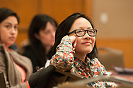Washington, DC - The AACR Annual Meeting 2013: Gloria Huang listens during the AMC: PA Session: Designing and Delivering Effective Scientific Presentations  at the the American Association for Cancer Research Annual Meeting here today, Sunday, April 7, 2013. More than 18,000 physicians, researchers, health care professionals, cancer survivors and patient advocates are expected to attend the meeting at the Walter Washington Convention Center. The Annual Meeting highlights the latest findings in all major areas of cancer research from basic through clinical and epidemiological studies. Date: Sunday, April 7, 2013 Photo by © AACR/Alan Lessig 2013 Technical Questions: todd@medmeetingimages.com; Phone: 612-226-5154.