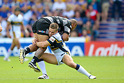 Hull FC second row Sika Manu (21) is tackles by Leeds Rhinos centre Jimmy Keinhorst (18)  during the Challenge Cup 2017 semi final match between Hull RFC and Leeds Rhinos at the Keepmoat Stadium, Doncaster, England on 29 July 2017. Photo by Simon Davies.