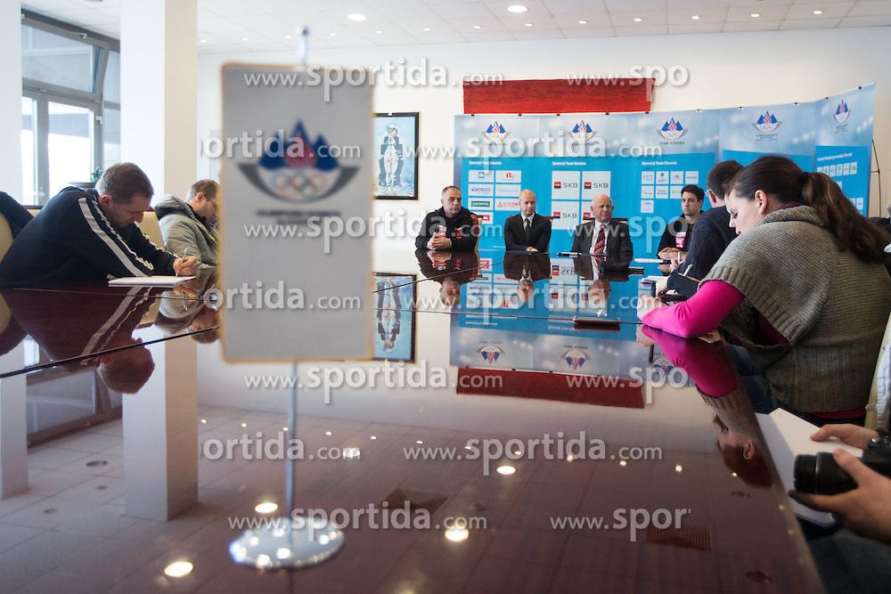at press conference of Olympic committee and Hokejska zveza Slovenije prior to the Qualification for the Olympic games Sochi 2014, on February 1, 2013 in Ljubljana, Slovenia. (Photo By Matic Klansek Velej / Sportida.com)