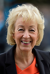 © Licensed to London News Pictures. 02/10/2017. Manchester, UK. Minister of State at the Department of Energy and Climate Change ANDREA LEADSOM seen on the second day of the Conservative Party Conference. The four day event is expected to focus heavily on Brexit, with the British prime minister hoping to dampen rumours of a leadership challenge. Photo credit: Ben Cawthra/LNP