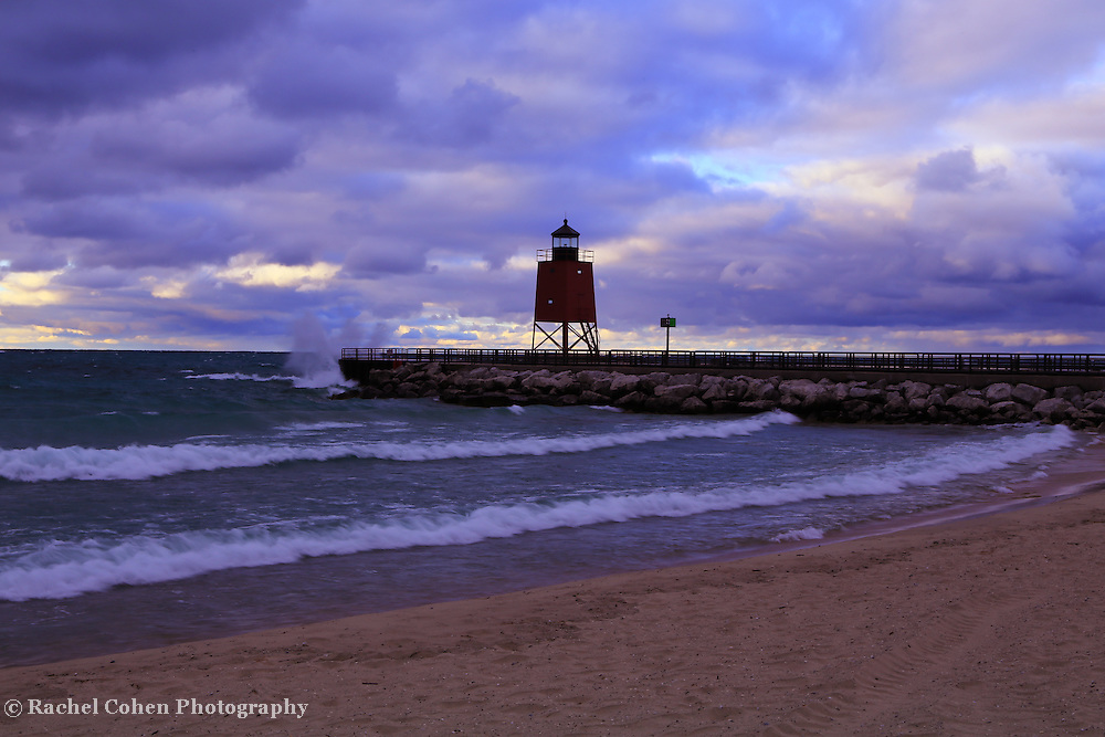 &quot;Charlevoix Lighthouse Sunset&quot; 1<br />