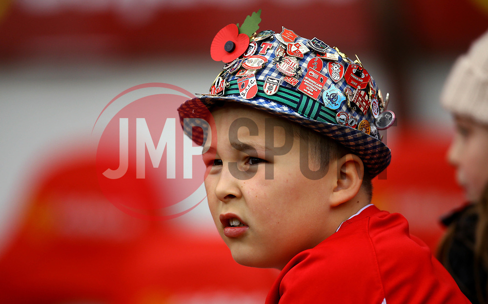 A Sunderland fan looks on in a hat of Sunderland badges - Mandatory by-line: Robbie Stephenson/JMP - 28/10/2017 - FOOTBALL - Stadium of Light - Sunderland, England - Sunderland v Bristol City - Sky Bet Championship