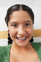 Girl wearing braces,portrait