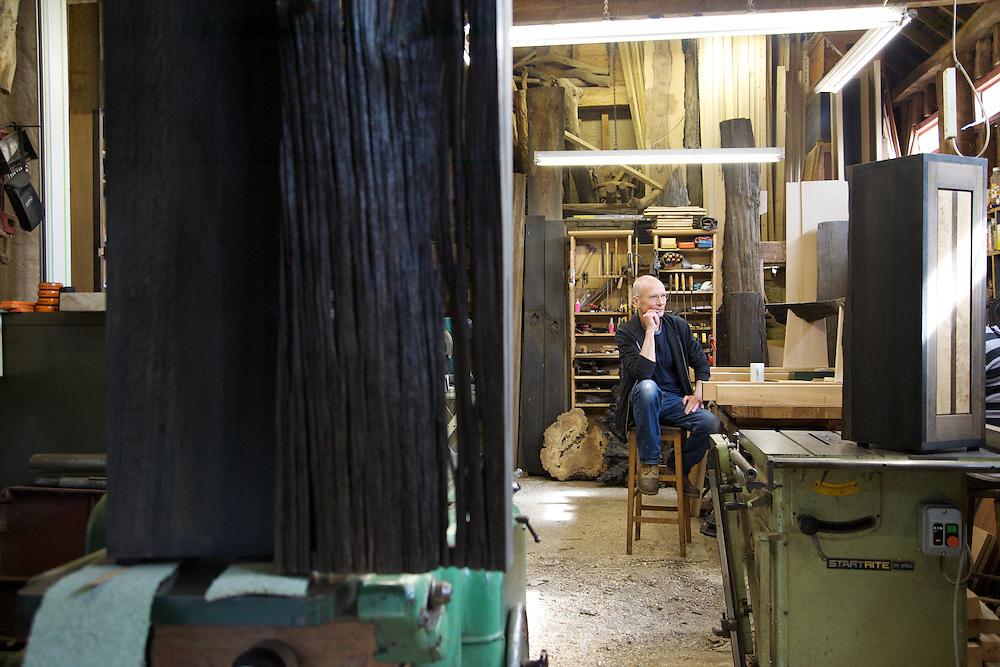 Furniture maker Adrian Swintead in his Maulden Woods studio, Bedfordshire<br /> CREDIT: Vanessa Berberian for The Wall Street Journal<br /> GURU-SWINSTEAD