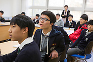 Students Na dan Jo and Ye jun Seo in English class at the Shinil High School, Seoul, South Korea.