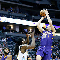 16 November 2016: Phoenix Suns guard Devin Booker (1) takes a jump shot over Denver Nuggets forward Kenneth Faried (35) during the Denver Nuggets 120-104 victory over the Phoenix Suns, at the Pepsi Center, Denver, Colorado, USA.