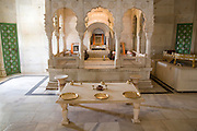 India, Rajasthan, Jodhpur, Mehrangarh fort Jaswant Thada - Cenotaphs of the Rathore rulers of Jodhpur-Marwar (the graves of the Maharajas of the city and the region of Marwar).