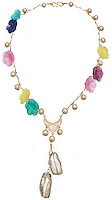 gold pearl and flower necklace with glass pendant