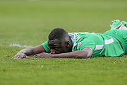 Ntumba Massanka (on loan from Burnley) (Wrexham AFC) lays on the ground having missed a chance to put Wrexham 2-1 up during the Vanarama National League match between York City and Wrexham FC at Bootham Crescent, York, England on 17 April 2017. Photo by Mark P Doherty.