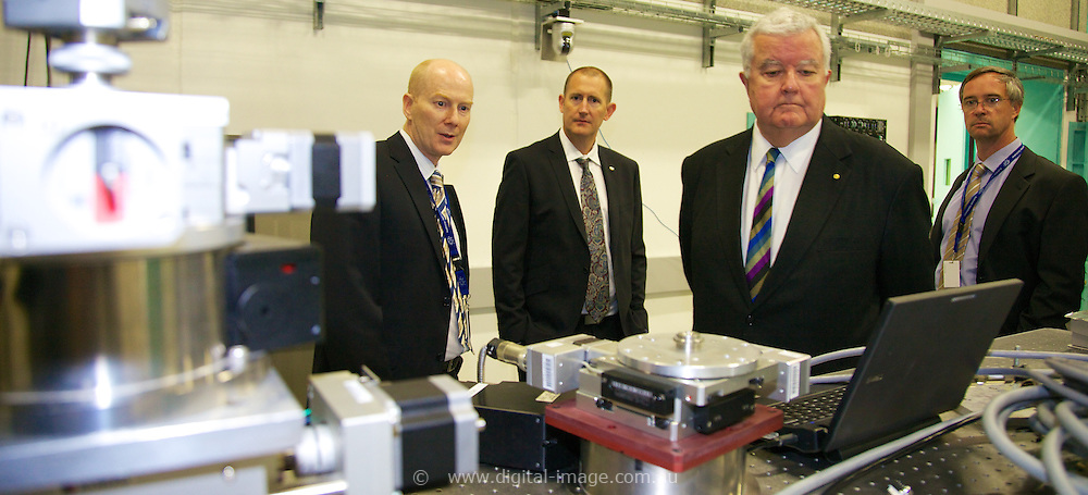 Professor Ian Chubb, Chief Scientist of Australia (CSA) visiting the Australian Synchrotron, with Andrew Peele, Director, David Cookson, HEad of Beamline Science and Operations, Michael James, Head of Science