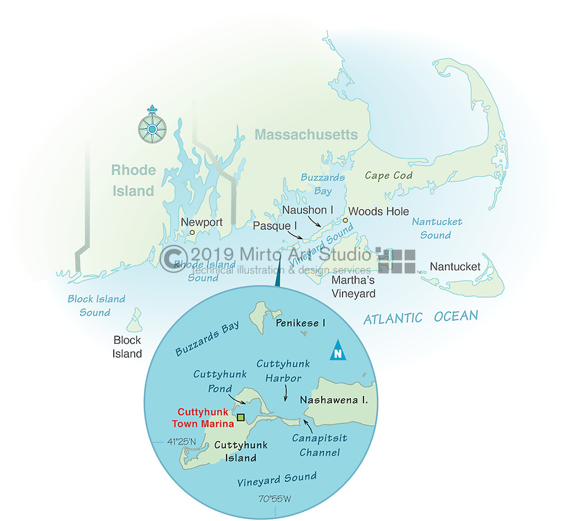 Vector map of Cuttyhunk, Massachusettes marina