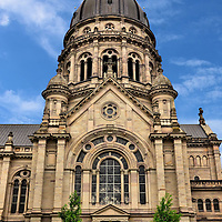 Christ Church in Mainz, Germany <br /> Until the French occupation in the late 18th century, Protestants were discriminated against by Catholics.  But Napoléon Bonaparte declared freedom of religion and, about one hundred years later, the Christuskirche was finished in 1903.  The Christ Church's imposing, 262 foot dome and Renaissance Revival architecture makes it an impressive landmark in Mainz.  It was heavily damaged by bombs in 1945 but reconstructed in 1954.