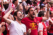 Arsenal fans celebrate 1st goal  during the The FA Cup Final match between Arsenal and Chelsea at Wembley Stadium, London, England on 27 May 2017. Photo by Sebastian Frej.