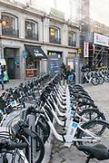 BiciMad Madrid city bicycle rental station at Puerta del sol, Madrid, Spain