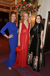 Left to right, SANDRA NEDVETSKAIA, NATALIA VODIANOVA and DIANA VISHNEVA at The Backstage Gala hosted by Diana Vishneva , Principal Dancer of the Mariinsky and American Ballet Theatre, and Natalia Vodianova in aid of The Naked Heart Foundation held at The London Coliseum, St.Martin's Lane, London on 17th April 2015.