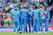 India celebrate the wicket of Hashim Amla during the ICC Cricket World Cup 2019 match between South Africa and India at the Hampshire Bowl, Southampton, United Kingdom on 5 June 2019.