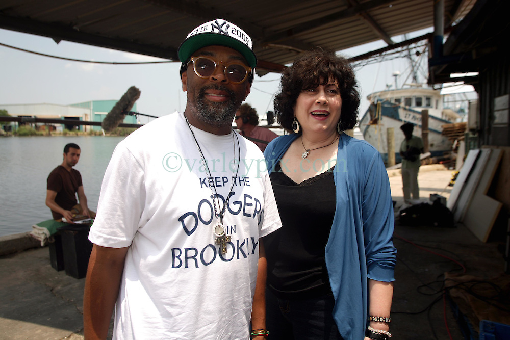 01 June 2010. New Orleans, Louisiana, USA.  <br /> Spike Lee and Marylee Orr shot on set in Chalmette for Spike Lee's latest movie,  'If God is Willing and da Creek Don't Rise.'<br /> Photo ©; Charlie Varley/varleypix.com.