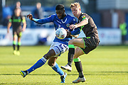 Forest Green Rovers Nathan McGinley(19) and Macclesfield Town's Nathan Blissett(13) challenge for the ball during the EFL Sky Bet League 2 match between Macclesfield Town and Forest Green Rovers at Moss Rose, Macclesfield, United Kingdom on 29 September 2018.