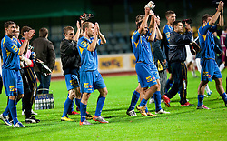 Ivan Knezovic of Domzale, Rok Hanzic of Domzale and Dalibor Teinovic of Domzale celebrate after winning the football match between NK Domzale and MIK CM Celje, played in the 10th Round of Prva liga football league 2010 - 2011, on September 22, 2010, Spors park, Domzale, Slovenia. Domzale defeated Celje 1 - 0. (Photo by Vid Ponikvar / Sportida)