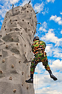 U.S. Army soldier wearing military camouflage fatigues scaling/climbing up, or rappelling down, portable rock climbing wall at U.S. Army booth at Bellmore Street Fair, Bellmore, New York, USA, on September 17, 2011.