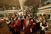 Aboard the Rhapsody of the Seas, on a cruise from Vancouver to Hawaii. Goodbye choir of kitchen staff and waiters at Edelweiss restaurant.