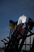 """Henley on Thames, United Kingdom, 4th July 2018, Wednesday, General View, """"Regatta Time"""",  Oars stacked,  White Spoons caught in the """"Sun-light"""", first day of the annual,  """"Henley Royal Regatta"""", Henley Reach, River Thames, Thames Valley, England, © Peter SPURRIER,"""