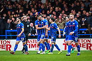 Aaron Wilbraham of Rochdale AFC and Oliver Rathbone of Rochdale AFC celebrate their team's first goal to make the score 1-1 during the The FA Cup match between Rochdale and Newcastle United at the Crown Oil Arena, Rochdale, England on 4 January 2020.