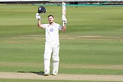 100 - Alex Lees acknowledges the crowd on reaching 100 during the Specsavers County Champ Div 2 match between Durham County Cricket Club and Leicestershire County Cricket Club at the Emirates Durham ICG Ground, Chester-le-Street, United Kingdom on 18 August 2019.
