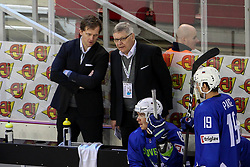 Kari Saovolainen, head coach of Slovenia during Ice Hockey match between National Teams of Kazakhstan and Slovenia in Round #4 of 2018 IIHF Ice Hockey World Championship Division I Group A, on April 27, 2018 in Arena Laszla Pappa, Budapest, Hungary. Photo by David Balogh / Sportida