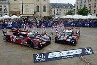Marcel Fassler (CHE) / Andre Lotterer (DEU) / Benoit Treluyer (FRA) #7 and Lucas Di Grassi (BRA) / Loic Duval (FRA) / Oliver Jarvis (GBR) #8 Audi Sport Team Joest  Audi R18 e-tron quattro,  during the Le Mans 24 Hr June 2016 at Circuit de la Sarthe, Le Mans, Pays de la Loire, France. June 13 2016. World Copyright Peter Taylor/PSP.