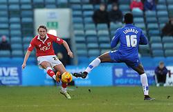Bristol City's Luke Ayling clears under pressure from Gillingham's Amine Linganzi - Photo mandatory by-line: Dougie Allward/JMP - Mobile: 07966 386802 - 28/12/2014 - SPORT - football - Gillingham - Priestfield Stadium - Bristol City v Gillingham - Sky Bet League One