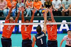 11-08-2019 NED: FIVB Tokyo Volleyball Qualification 2019 / Netherlands - USA, Rotterdam<br /> Final match pool B in hall Ahoy between Netherlands vs. United States (1-3) and Olympic ticket  for USA / Nimir Abdelaziz #14 of Netherlands, Fabian Plak #8 of Netherlands, Maarten van Garderen #3 of Netherlands