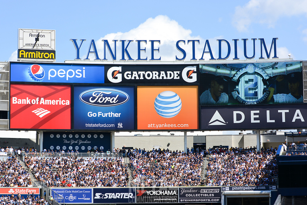 A tribute to Derek Jeter is displayed on the left field video screen moments before the ceremony to honor the Yankee Captain.