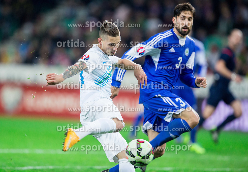 Petar Stojanovic of Slovenia vs Mirko Palazzi of San Marino during football match between NationalTeams of Slovenia and San Marino in Round 5 of EURO 2016 Qualifications, on March 27, 2015 in SRC Stozice, Ljubljana, Slovenia. Photo by Vid Ponikvar / Sportida