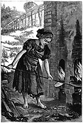 Young girl tending the fire holes of a brick kiln. It was estimated that at this time there were between 20,000 & 30,000 children aged 5 to 16 at work in British brickyards.  Wood engraving 1871