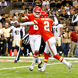 September 23, 2012; New Orleans, LA, USA; Kansas City Chiefs place kicker Ryan Succop (6) celebrates punter Dustin Colquitt (2) after hitting a field goal to win over the New Orleans Saints in overtime of a game at the Mercedes-Benz Superdome. The Chiefs defeated the Saints 27-24 in overtime. Mandatory Credit: Derick E. Hingle-US PRESSWIRE