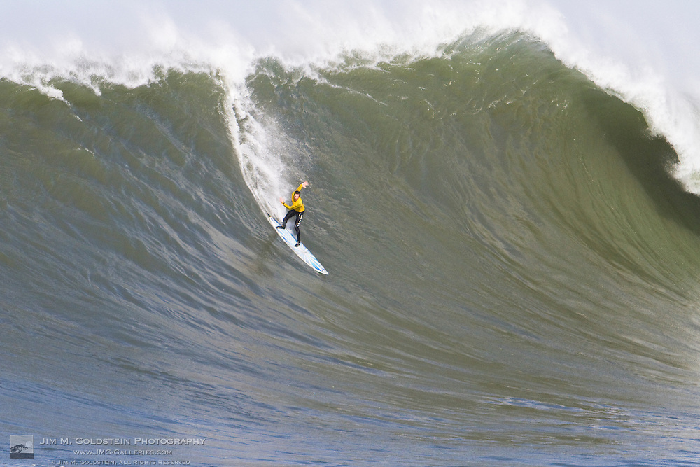 "Kenny ""Skindog Collins drops into a huge wave at the 2010 Mavericks Surf Contest held in Half Moon Bay on February 13, 2010"
