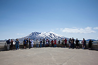 Crowd of Tourists Looking at Mount St. Helens, Mount St. Helens National Volcanic Monument, Washington