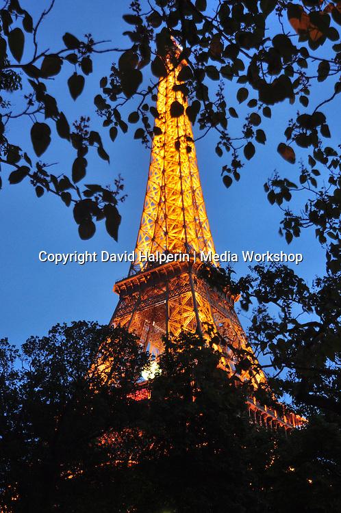 Eiffel tower, illuminated, evening