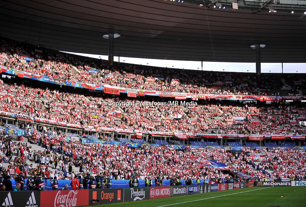 2016.06.16 Saint-Denis<br /> Pilka nozna Euro 2016<br /> mecz grupy C Polska - Niemcy<br /> N/z Trybuny Kibice Polski<br /> Foto Lukasz Laskowski / PressFocus<br /> <br /> 2016.06.16 Saint-Denis<br /> Football UEFA Euro 2016 group C game between Poland and Germany<br /> Trybuny Kibice Polski<br /> Credit: Lukasz Laskowski / PressFocus
