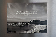 Photo magnet with Monterey coastline, J.R.R. Tolkien quote, pacific grove, black and white print, words to inspire, California, home art, fridge art, Central Coast.