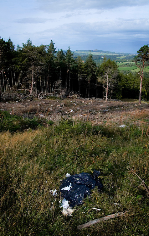 A bag of garbage left behind by persons unkown in the middle of an area clearcut by the Irish national forest management company Coillte, in Crone Woods, Wicklow, Ireland. The path is part of the Wicklow Way, a 132km  hiking trail that runs through the Wicklow Mountains..